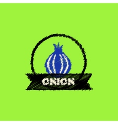 Flat icon design collection onion emblem vector