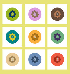 Flat icons set of cogwheel with dollar concept on vector