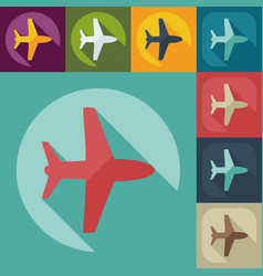 Flat modern design with shadow icon plane vector