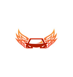 flying car design flame wings automobile icon vector image