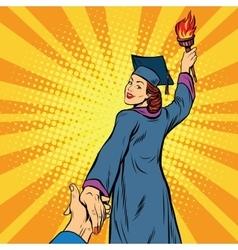 Follow me education university knowledge woman vector