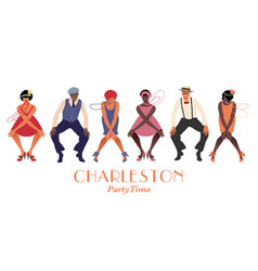 four flapper girls and two man wearing retro vector image