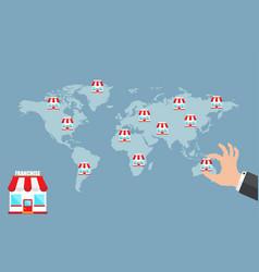 Franchise business concept businessman hand vector