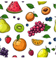 Fruit and berries seamless pattern orange and vector
