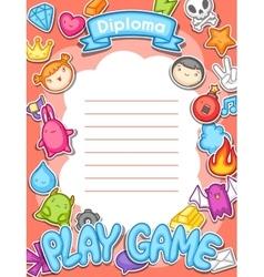 Game kawaii diploma cute gaming design elements vector