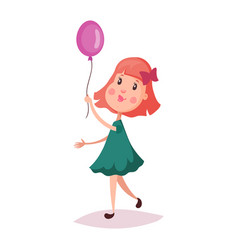 Girl or child kid holding air balloon on rope vector
