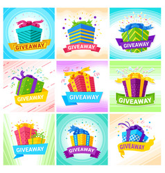giveaway social media posts creative design vector image