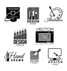 Graphic design studio icons vector