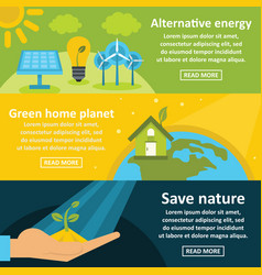 green energy banner horizontal set flat style vector image