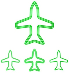 Green line airplane logo design set vector