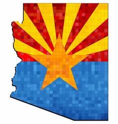 grunge arizona map with flag inside vector image