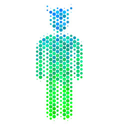 halftone blue-green daemon icon vector image