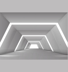 Hallway tunnel with lights abstract background vector