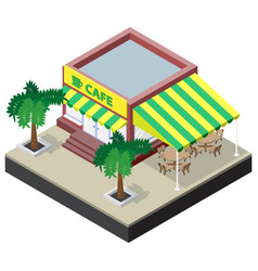 Isometric coffee shop with tables chairs and palm vector