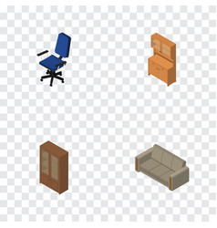isometric design set of office cupboard couch vector image
