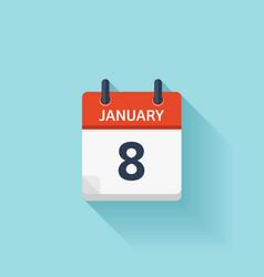 January 8 flat daily calendar icon Date vector