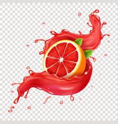Juicy grapefruit in realistic red juice splash vector