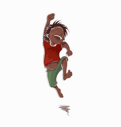 Jumping laughing boy in a red tee-shirt and green vector