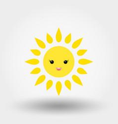 kawaii sun icon flat vector image