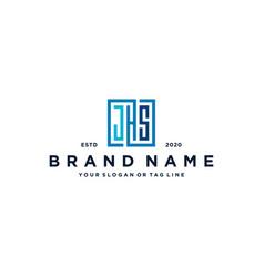 Letter jhs square logo design vector