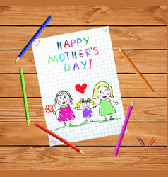 Lgbt family happy mothers day bakids drawing vector