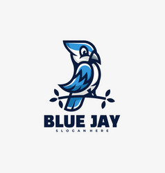 Logo blue jay mascot cartoon style vector