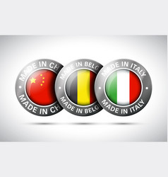 made in china belgium italy flag metal icon set vector image