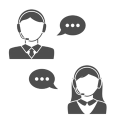 Male and Female Call Center Avatar Icons vector image