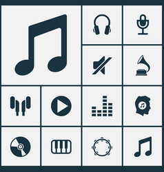 Music icons set collection of octave earphone vector