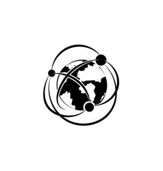 network icon globalization icon black on white vector image