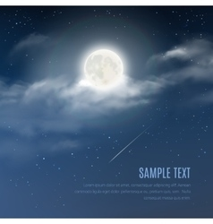 night cloudy sky with shining stars and moon vector image