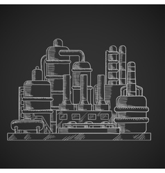 Oil refinery factory in outline style vector