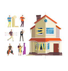 old and new home renovation of house with vector image