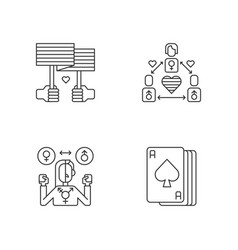 Partner choice pixel perfect linear icons set vector