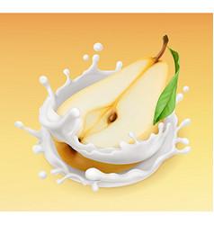 Pear and milk splash Fruit and yogurt Realistic vector