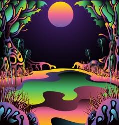 Psychedelic forest landscape vector illustration vector