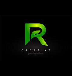 R leaf letter logo icon design in green colors vector