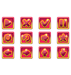 red square collection set glass buttons for vector image