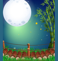 Scene with fullmoon in the sky vector