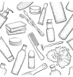 Seamless pattern Detailed Hygiene set vector image