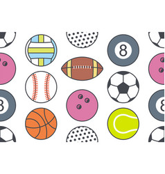 seamless pattern with collection sports balls vector image