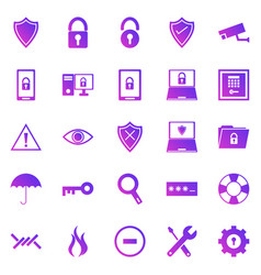 Security gradient icons on white background vector