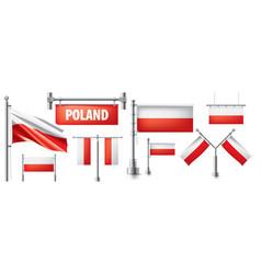 Set national flag poland vector