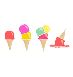 Set of four ice creams isolated on white vector