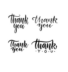 set thank you hand written brush lettering vector image