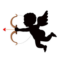 silhouette of a cupid angel vector image