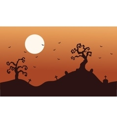 Silhouette of halloween dry tree and bat vector