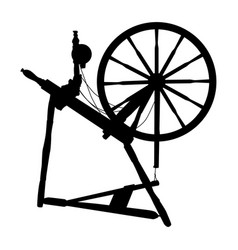 Silhouette old vintage spinning wheel vector