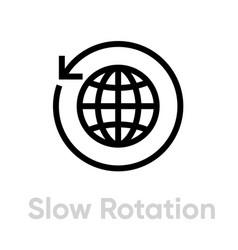 Slow rotation globe earth icon editable line vector