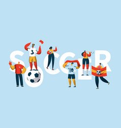 soccer fan character cheering team banner vector image